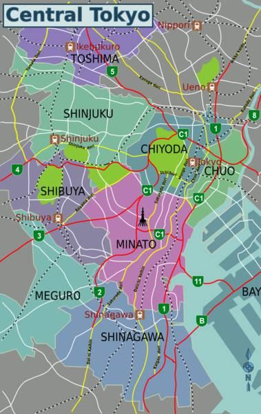 carte du centre de tokyo